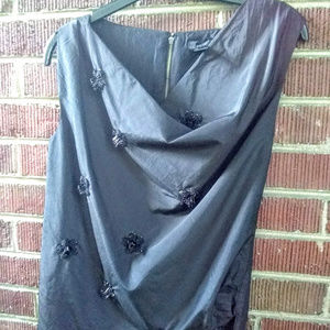 J Crew Black Silk Top With Beaded Flowers Size 0